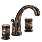Тридупков смесител за мивка с три отвора - стилизирана украса