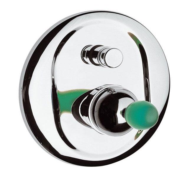 Четирипътен смесител за вграждане - кръгла платка с цветна украса