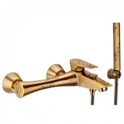 Смесител за душ с аксесоари с декорация бронз