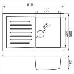 Черна мивка от гранит – Kizz DRG50/81B (FERRO)