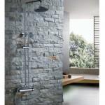 Комплект: тръбно окачване, смесител, подвижен и стационарен душ, кръгла пита