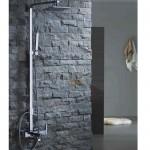 Комплект: тръбно окачване, смесител, подвижен и стационарен душ, квадратна пита