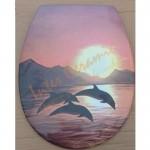 Декорирана седалка и капак ДУРОПЛАСТ за WC – с делфини