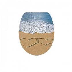 Седалка и капак ДУРОПЛАСТ за WC – декор сърца и море