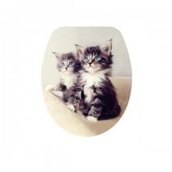 Антибактериална WC седалка от ДУРОПЛАСТ – декор две котета