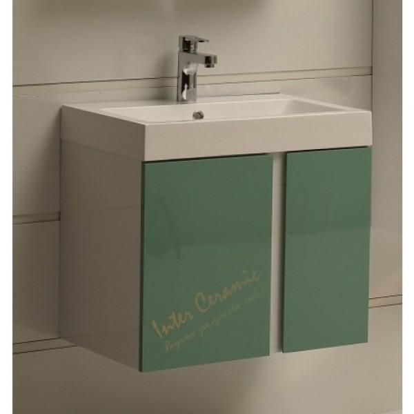 PVC шкаф за баня със зелени вратички – модел ICP 6087 Green