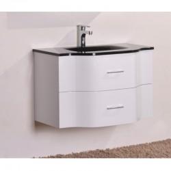 Бял PVC долен шкаф за баня с черна мивка – ICP 8080B