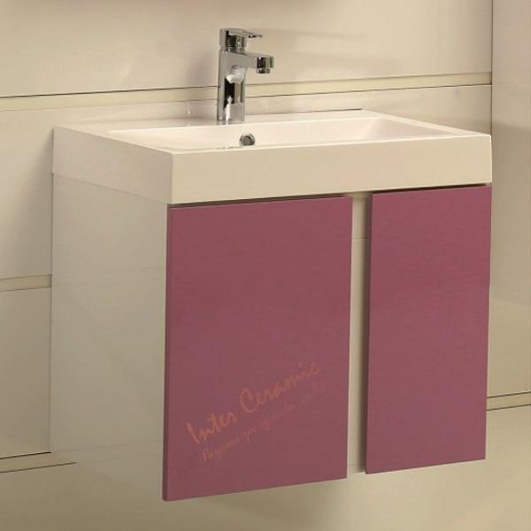 PVC шкаф за баня с лилави вратички – модел ICP 6087 Purple