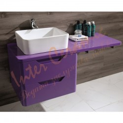 Комплектна мебел за баня – долен PVC шкаф и плот в лилаво