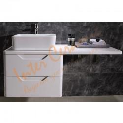 Комплектна мебел за баня – долен PVC шкаф и плот в бяло