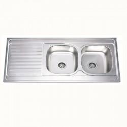 Двойна кухненска мивка от алпака – бордов модел