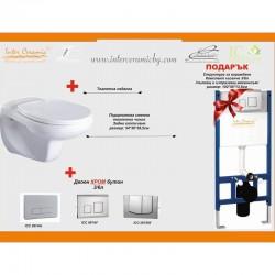 Структура за вграждане с ХРОМ актиавтор и окачена тоалетна чиния