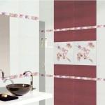 Плочки за баня декорирани с цветя Gavana Burdeos от Keros (Испания)