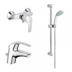 Комплект за баня - два смесителя (мивка и душ) и душ гарнитура
