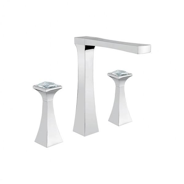 Тридупков смесител за мивка с висок чучур – Opera Crystal 60569/A