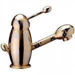 Смесител за мивка с декорация и златен цвят