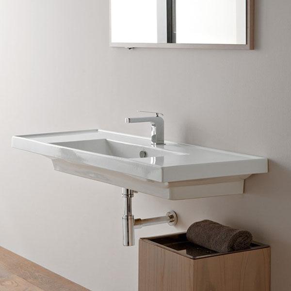 Дълга Мивка за баня с плот - за вграждане в стена