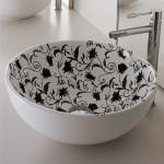 Мивка за баня тип купа - вътрешна украса черни цветя