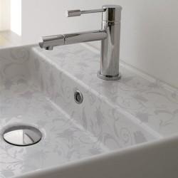 Стилна Мивка за баня с декорация Сиви цветя