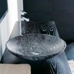 Мивка за баня Черен мрамор с украса