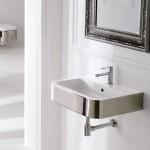 Стенна Мивка за баня с облицовка Платинен цвят