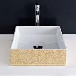 Квадратна Мивка за баня - декорация Златни цветя