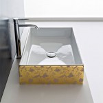 Правоъгълна Мивка за баня -  украса Златни цветя