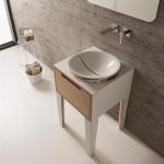 Кръгла плитка Мивка за баня Mizu 45 см - с дизайнерски капак