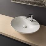Стилен Бял Умивалник за баня от серията Moai - тип чиния