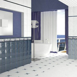 Синьо-бяла колекция плочки за баня Cascade (Maritima Ceramica)