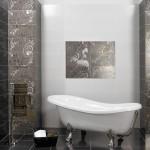 Абстрактни плочки за баня с фини орнаменти Aurea Negro от Ceramica Latina (Испания)