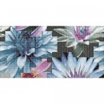 Плочки мозайка с размер 25 x 50  см. Decor Mosaico Blanco Flor 1