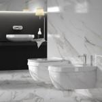 Стилна тоалетна за вграждане в бял цвят Abito Calacatta Lux 56 от Hatriа (Италия)