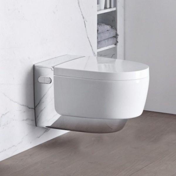Модерна конзолна тоалетна чиния с хром елемент – Geberit AquaClean Mera Classic