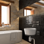 Облицовъчни плочки за стена на баня Raspail Negro от Vives (Испания)